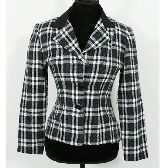 80s vintage plaid blazer  Linen blazer kimono  Black and white plaid  Oversized blazer  Size M or L